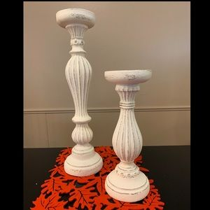 Off white candle holders
